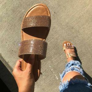 Penny/Bronze Rhinestone Slip on sandal